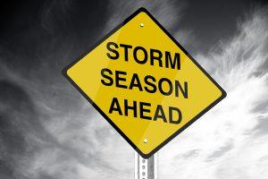 Storm season ahead road sign